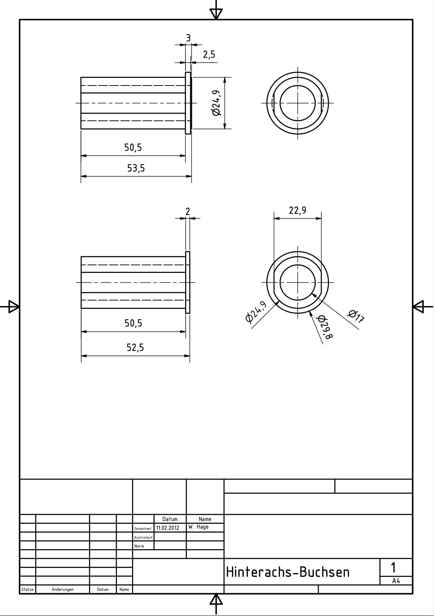 Hinterachsbuchse aus Aluminium Pantah