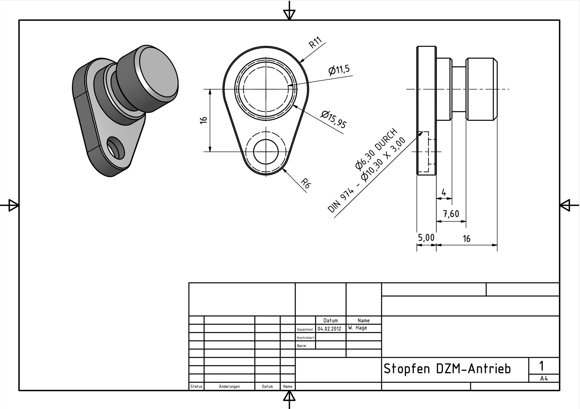 Stopfen-Drehzahlmesser-Antrieb